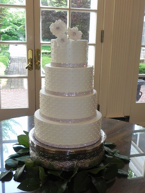 Rhinestone band wedding cake