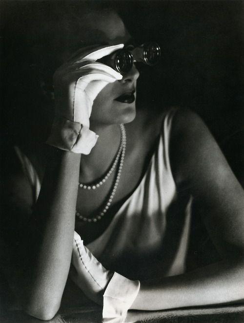George Hoyningen-Huene - Agneta Fischer at the opera, 1931: Huene Agneta, Black White, Opera Glasses, Fashion Photography, Agneta Fischer