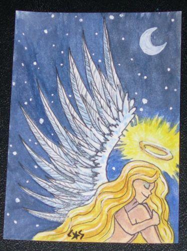 ACEO RIVER Original Angel Stars blonde night fantasy fairy wings Christmas yule