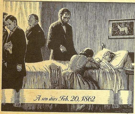 """The 11-year-old son of Abraham & Mary Lincoln lay ill in a huge carved rosewood bed, fighting  typhoid. At five p.m. on February 20, 1862, William Wallace Lincoln died. Elizabeth Keckly, the former slave who designed Mrs. Lincoln's beautiful wardrobe, washed & dressed him. When the president gazed at him, he mourned, """"My poor boy, he was too good for this earth. God has called him home. I know that he is much better off in heaven, but then we loved him so.   . . . .Christopher  Bing…"""
