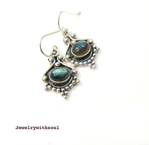 Labradorite cabochon and sterling silver dangle by jewelrywithsoul, $48.00