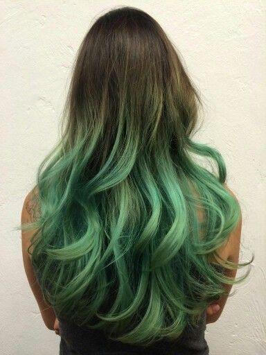 Green turquoise dip dye hair.  #greenhair #mermaidhair