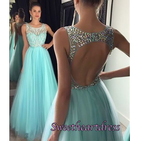 Elegant open back green tulle long prom dress with crystal on the top, ball gown 2016,prom dresses for tees #coniefox #2016prom