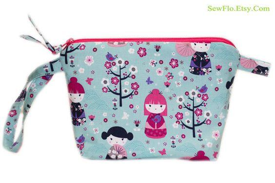 NEW Japanese Kimono Dolls Makeup Bag  Toiletry Bag  by SewFlo, $20.99