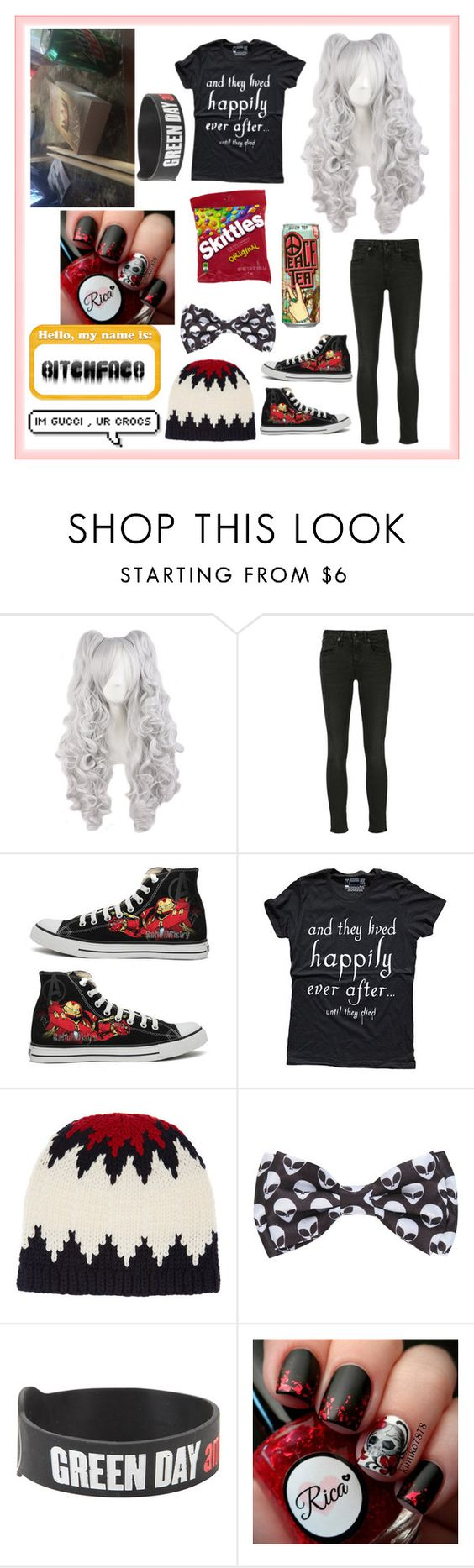 """""""Untitled #2510"""" by frerardforever ❤ liked on Polyvore featuring R13, Converse and Chloé"""