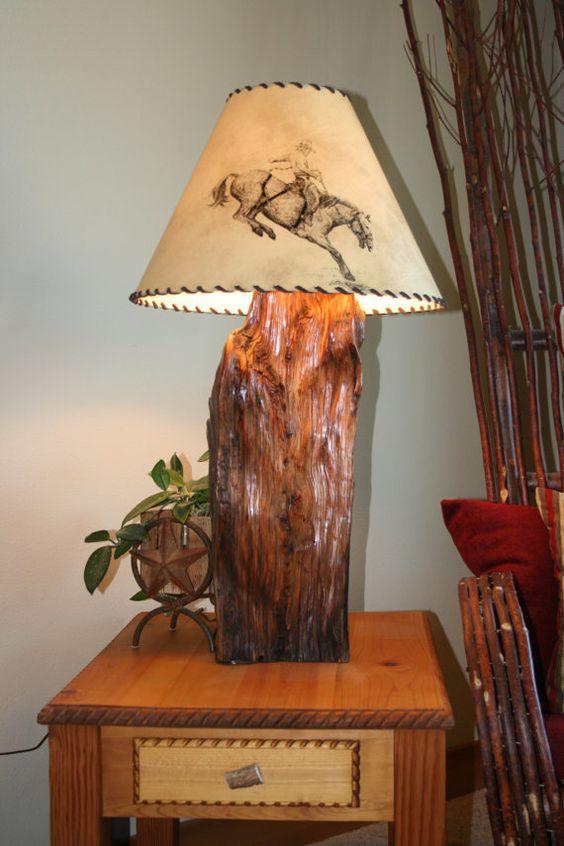 Rustic Juniper Wood Table Lamp