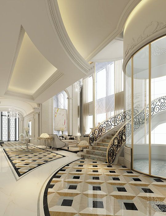Home Lobby Interior Design Royalty Free Stock Photos: Luxury Interior Design For An Entrance Lobby & Lounge- By