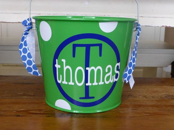 Personalized Easter Bucket  polka dots by limetreegifts on Etsy, $22.00