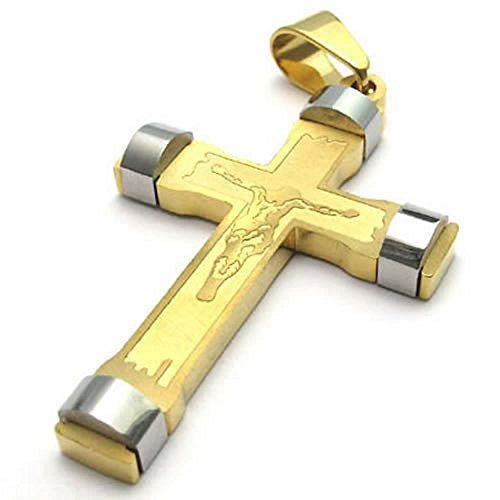 KONOV Schmuck Edelstahl Jesus Kruzifix Kreuz Anhänger mit 50-70cm Kette, Halskette für Herren Damen, Gold Silber