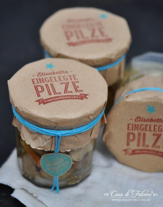Eingelegte Pilze nach polnischer Art {Rezept} I pickled mushrooms  {polish recipe} I Homemade Stempel I homemade stamp I Geschenke aus der Küche I food gifts I Verpackung I food packaging I Casa di Falcone