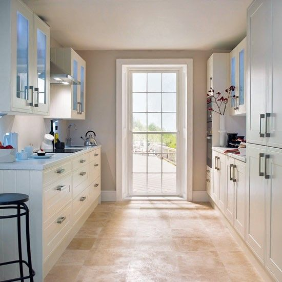 Galley kitchens glazed walls and wall units on pinterest for Corridor kitchen layout