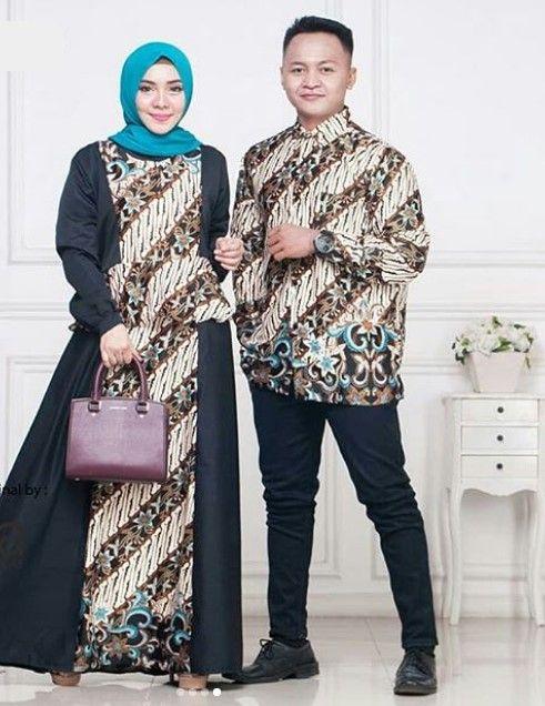 Model Baju Gamis Batik Kombinasi Kain Polos Terbaru Peplum