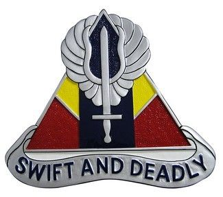 The 13th Aviation:The winged sword in the 13th AVN's emblem refers to the combat mission of the Battalion. The equilateral triangle/delta refers to the Mekong river delta, Vietnam where the organization served. The three colors used symbolize the three basic combat branches. The organization's motto is Swift and Deadly.