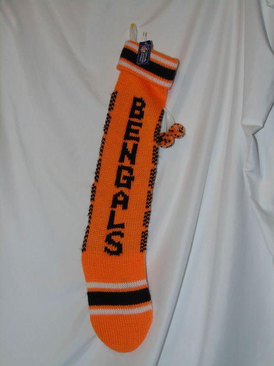 "Cincinnati Bengals Orange Knit Christmas Stocking 24"" diagonal Pom ..."