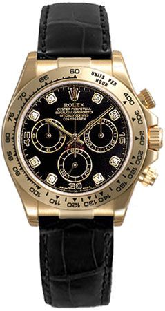 Rolex Daytona Black Diamond Dial Leather Bracelet Tachymeter Bezel 18k White Gold Mens Watch 116519BKDL: