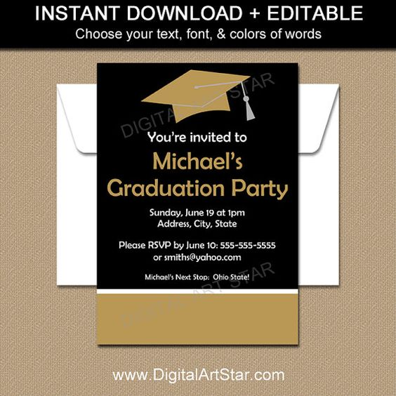 Graduation Invitation Editable Template Printable Graduation – Black and Gold Graduation Invitations