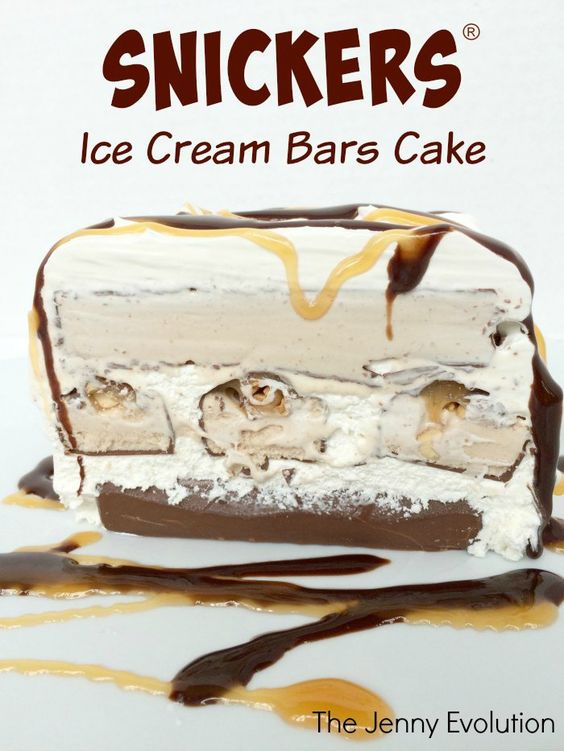 Snickers® Cake! Snickers Ice Cream Bars Cake Recipe | The Jenny Evolution