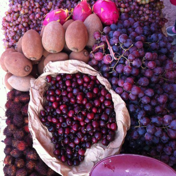 Seasonal fruits at the local market