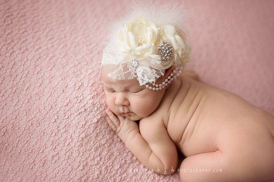 Cream / Ivory Baby Flower Headband Infant by lepetitejardin