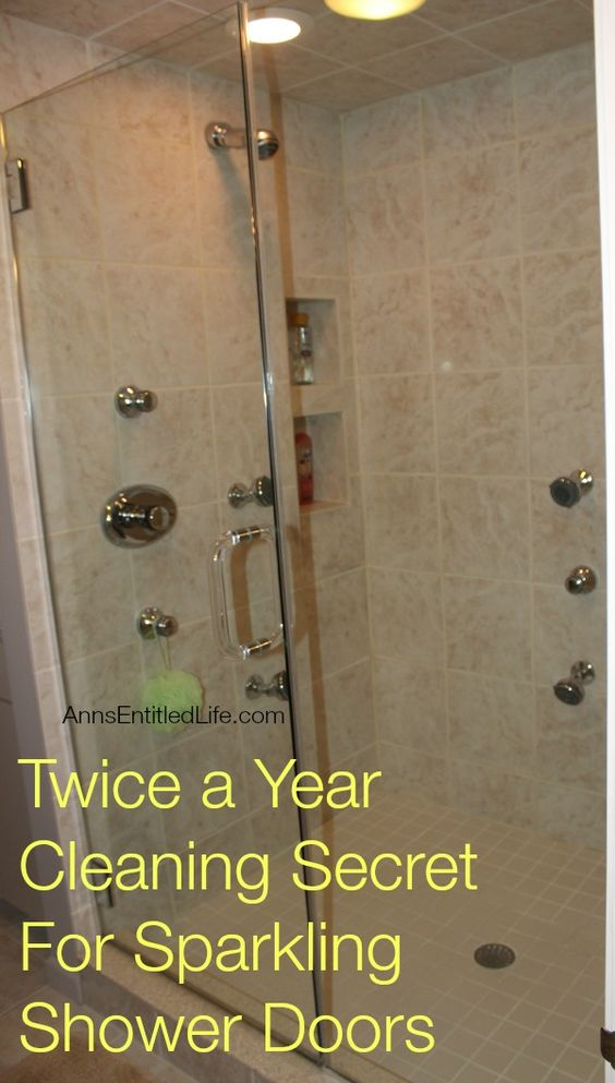 Twice a Year Cleaning Secret For Sparkling Shower Doors; Only clean your shower doors twice a year and have them sparkling clean all year long!? What's the secret? Well let me tell you…