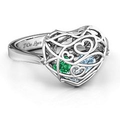 Encased in Love Caged Hearts Ring with Ski Tip Band #jewlr