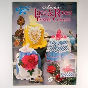Crochet Pattern LACE ROSES Thread Tissue Covers Annie's Attic 435B
