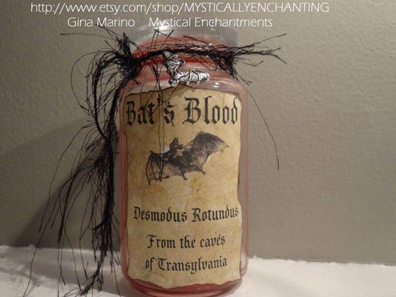 Amber Glass Bat's BLOOD Bottle by MYSTICALLYENCHANTING on Etsy, $10.50