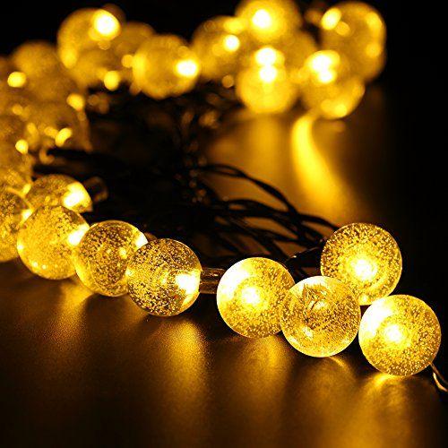 URPOWER® Solar Lichterkette Durchsichtig Kugel Lights Christmas Dekoration Solarbetrieben 6m 30 LED Wasserdict für Outdoor Party, Haus Dekoration, Hochzeit, Weihnachten, Feier Festakt (Warmweiß)