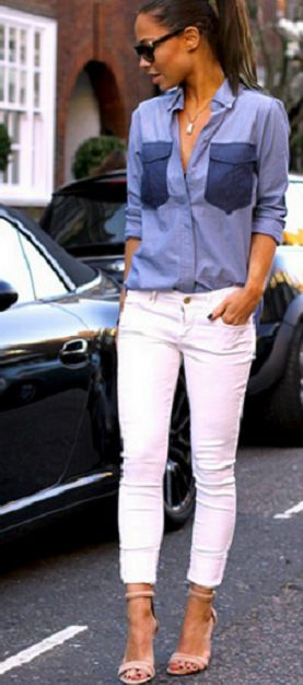 White skinnies + chambray top.