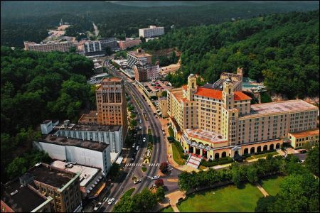 an aerial view of the arlington hotel in hot springs. Black Bedroom Furniture Sets. Home Design Ideas