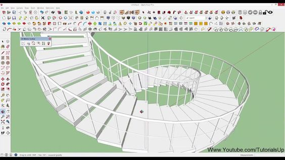 How To Make Spiral Staircase Using LSS Matrix in Sketchup  - just in 2 mins