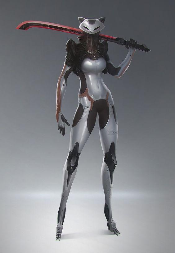 Cyberpunk cyborg girl