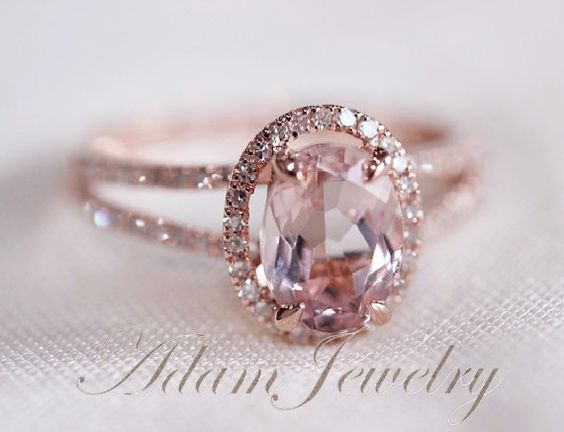 Halo Oval VS 6x8mm Morganite Ring/ Engagement Ring/ by AdamJewelry
