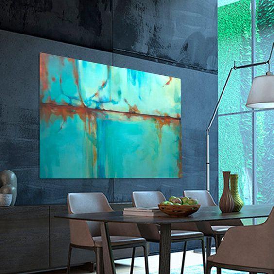 peinture abstraite large turquoise bleu vert orange peinture moderne fait sur commande. Black Bedroom Furniture Sets. Home Design Ideas