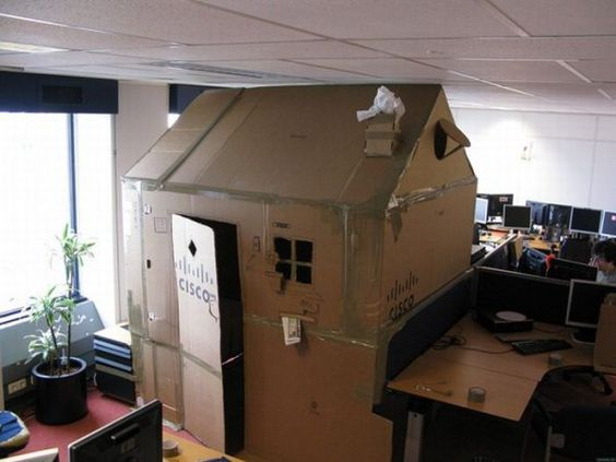 cardboard cubicle house prank he needs the extra privacy for midday naps office cardboard office