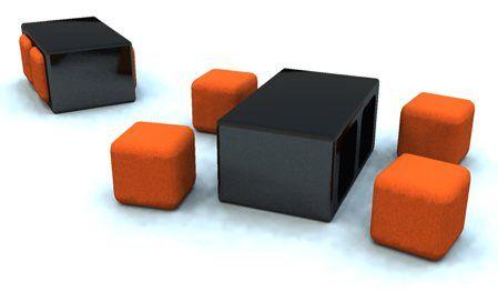table-basse-noir-poufs-carres-oranges-studio