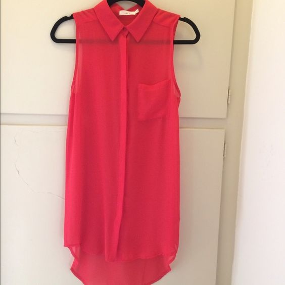 NWOT Nordstrom Lush Top Lush brand for Nordstrom size small bright red-orange sheer collared sleeveless button down shirtdress with a hidden button panel and hi-low hemline. 100% polyester. Like new condition. No flaws. Nordstrom Tops Blouses