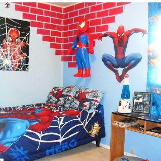 My son 39 s spiderman room kids room pinterest grey for Spiderman bathroom ideas