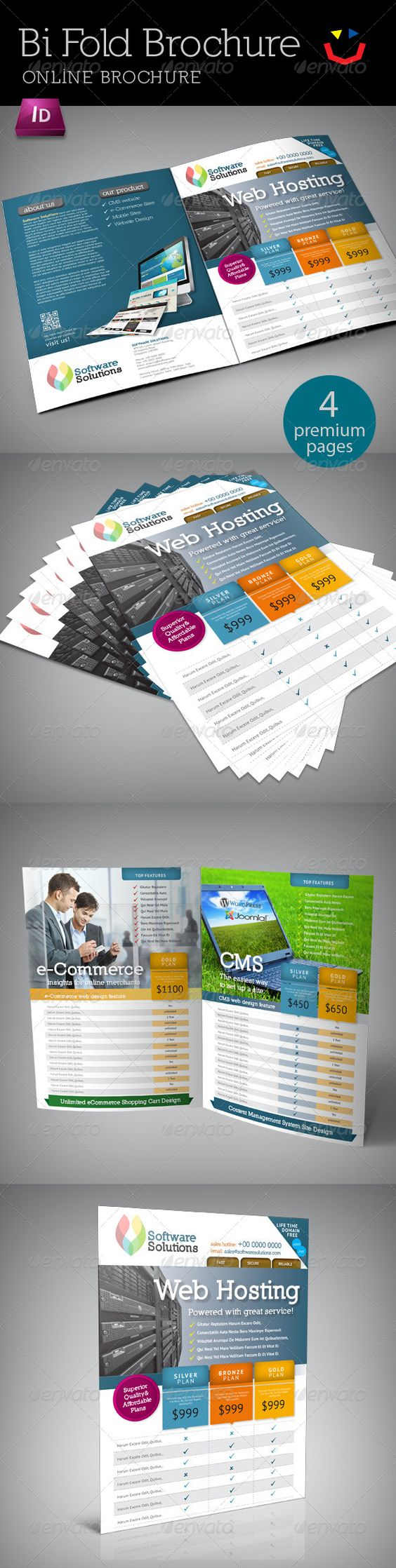 A one fold, two panel brochure template designed for internet provider company