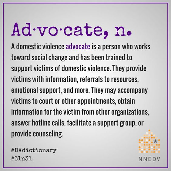 October 3 - Advocates change and save lives. #31n31 #DVdictionary #DVAM2017