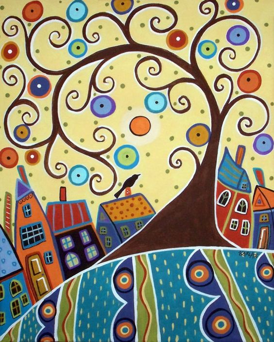 karla gerard artist | ... of the Swirl Tree Folk Art Karla Gerard Canvas ACEO…: