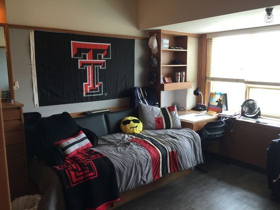 20 No Fuss Dorm Rooms For Guys Raising Teens Today Dorm Room Designs Guy Dorm Rooms Boys Dorm Room