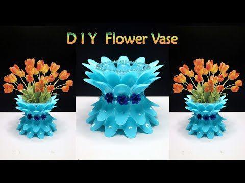 Vas Bunga Cantik Dari Sendok Plastik Bekas Flower Vase With