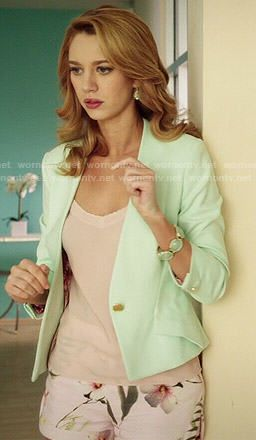 Petra's mint green blazer and floral shorts on Jane the Virgin.  Outfit Details: http://wornontv.net/39218/ #JanetheVirgin
