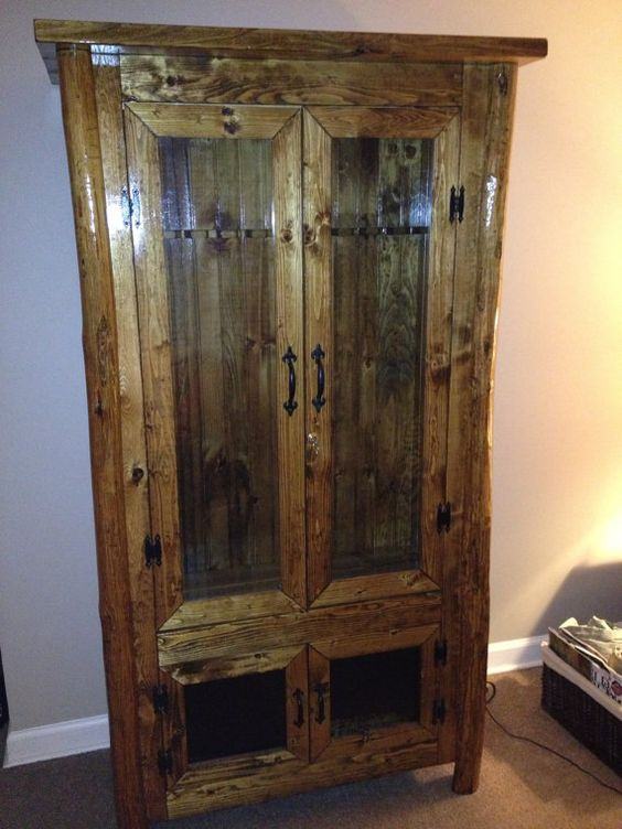 Rustic log gun cabinet by catawbadesign on etsy 1500 00 wooden