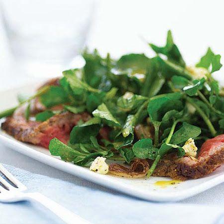 Watercress Salad with Steak, Sauted Shallots  Stilton