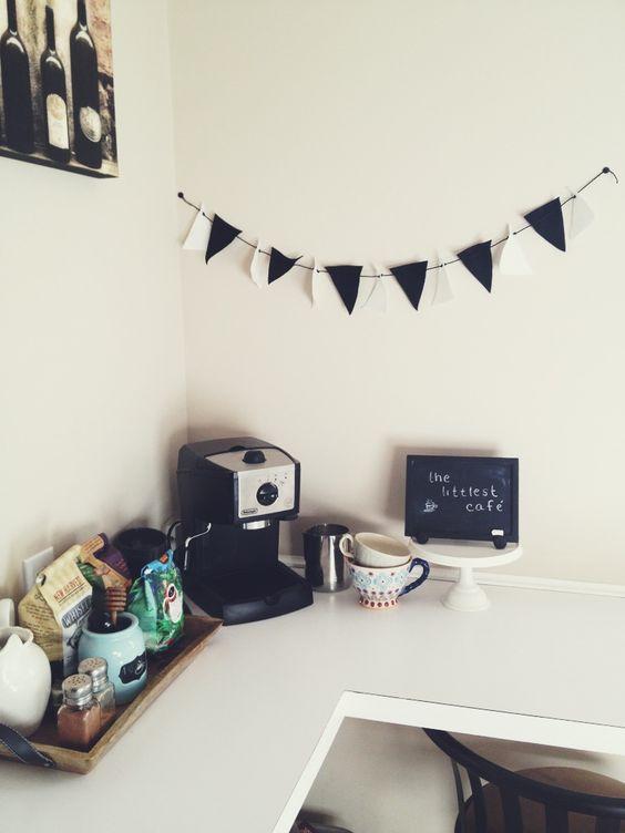 coffee corner with garland