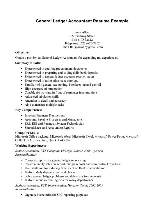 general ledger accountant resume example page the nature being - bookkeeper resume objective