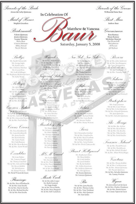 Vegas Themed Seating Chart With Images Seating Charts Chart