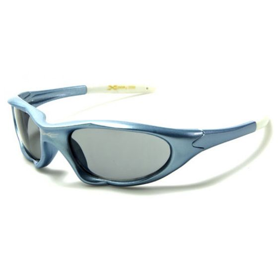 X-Loop Kids Wrap Plastic Oval Sunglasses Sky Blue and White with Smoke Lens